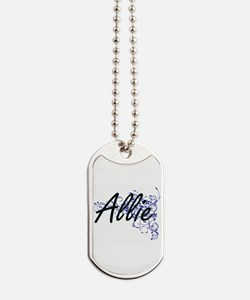 Allie Artistic Name Design with Flowers Dog Tags