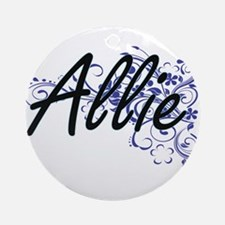 Allie Artistic Name Design with Flo Round Ornament