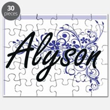 Alyson Artistic Name Design with Flowers Puzzle