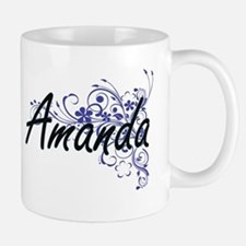 Amanda Artistic Name Design with Flowers Mugs