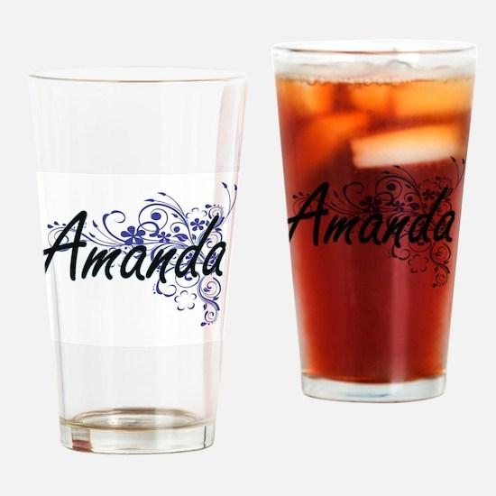 Amanda Artistic Name Design with Fl Drinking Glass