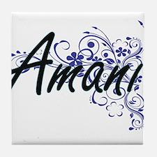 Amani Artistic Name Design with Flowe Tile Coaster