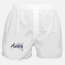 Amara Artistic Name Design with Flowe Boxer Shorts