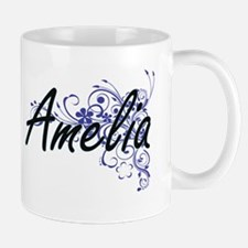 Amelia Artistic Name Design with Flowers Mugs