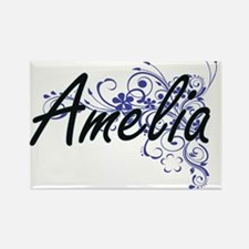 Amelia Artistic Name Design with Flowers Magnets