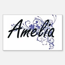 Amelia Artistic Name Design with Flowers Decal