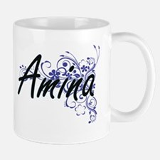 Amina Artistic Name Design with Flowers Mugs