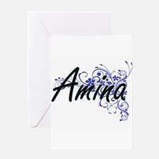 Amina Artistic Name Design with Flo Greeting Cards