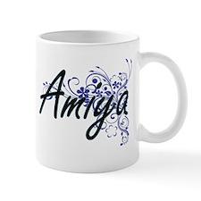 Amiya Artistic Name Design with Flowers Mugs