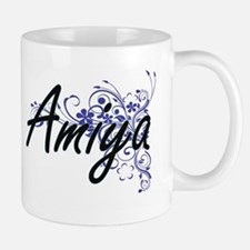 Amiya Artistic Name Design with Flowers Mugs