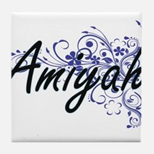 Amiyah Artistic Name Design with Flow Tile Coaster