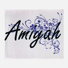 Amiyah Artistic Name Design with Flo Throw Blanket