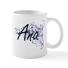 Ana Artistic Name Design with Flowers Mugs