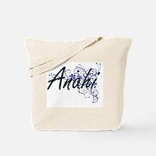 Anahi Artistic Name Design with Flowers Tote Bag