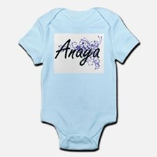 Anaya Artistic Name Design with Flowers Body Suit