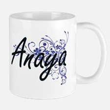 Anaya Artistic Name Design with Flowers Mugs