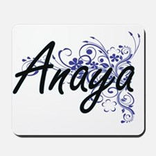 Anaya Artistic Name Design with Flowers Mousepad