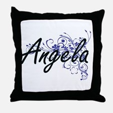 Angela Artistic Name Design with Flow Throw Pillow