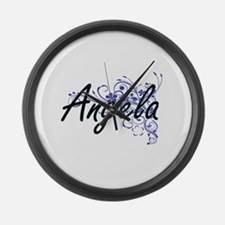 Angela Artistic Name Design with Large Wall Clock