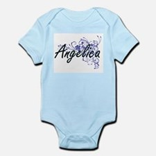 Angelica Artistic Name Design with Flowe Body Suit
