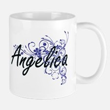 Angelica Artistic Name Design with Flowers Mugs