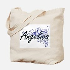 Angelica Artistic Name Design with Flower Tote Bag