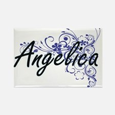 Angelica Artistic Name Design with Flowers Magnets