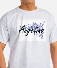 Angelina Artistic Name Design with Flowers T-Shirt