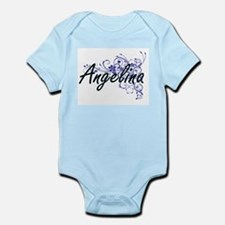 Angelina Artistic Name Design with Flowe Body Suit