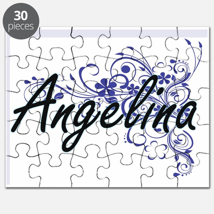 Angelina Artistic Name Design with Flowers Puzzle
