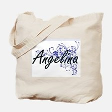 Angelina Artistic Name Design with Flower Tote Bag