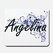 Angelina Artistic Name Design with Flowe Mousepad
