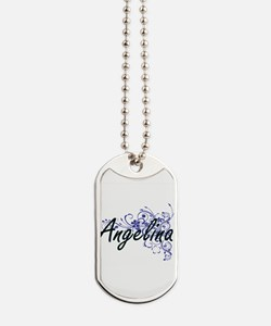 Angelina Artistic Name Design with Flower Dog Tags