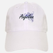 Angelina Artistic Name Design with Flowers Baseball Baseball Cap