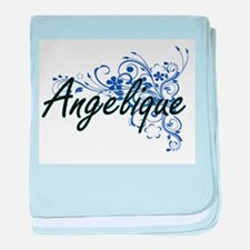 Angelique Artistic Name Design with F baby blanket