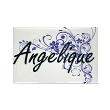Angelique Artistic Name Design with Flower Magnets