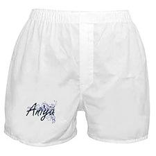 Aniya Artistic Name Design with Flowe Boxer Shorts