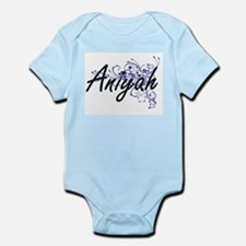 Aniyah Artistic Name Design with Flowers Body Suit