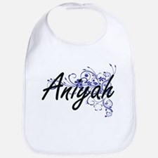 Aniyah Artistic Name Design with Flowers Bib