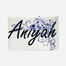 Aniyah Artistic Name Design with Flowers Magnets