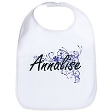 Annalise Artistic Name Design with Flowers Bib