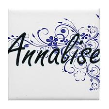 Annalise Artistic Name Design with Fl Tile Coaster