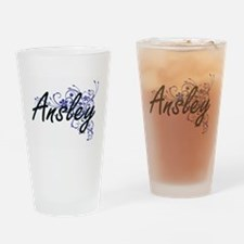 Ansley Artistic Name Design with Fl Drinking Glass
