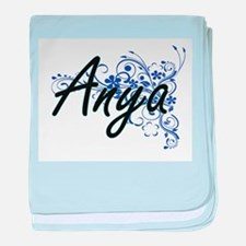 Anya Artistic Name Design with Flower baby blanket