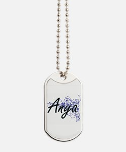 Anya Artistic Name Design with Flowers Dog Tags