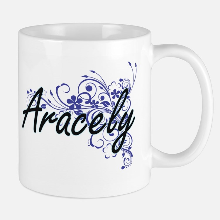 Aracely Artistic Name Design with Flowers Mugs
