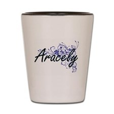 Aracely Artistic Name Design with Flowe Shot Glass