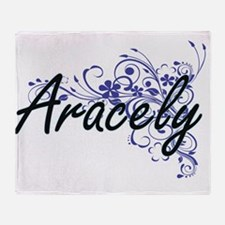 Aracely Artistic Name Design with Fl Throw Blanket