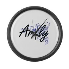 Arely Artistic Name Design with F Large Wall Clock