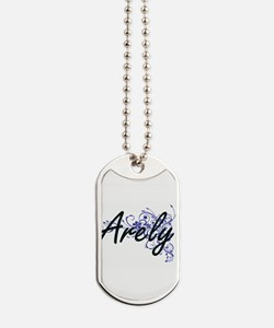 Arely Artistic Name Design with Flowers Dog Tags